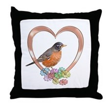Robin in Heart Throw Pillow