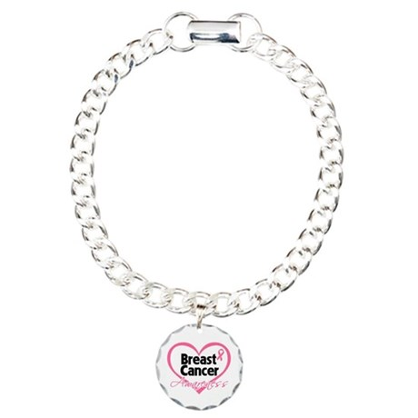 Breast Cancer Awareness Heart Charm Bracelet, One
