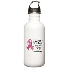 Pink Floral Ribbon Wife Water Bottle