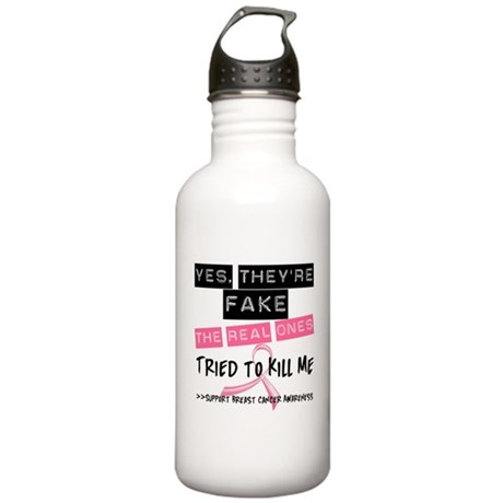 Fake 4 Breast Cancer Stainless Water Bottle 1.0L