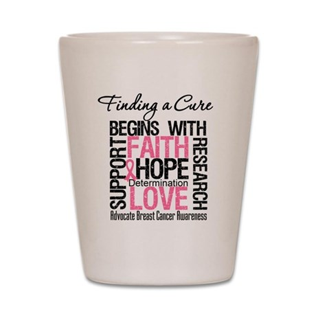 Finding a Cure Breast Cancer Shot Glass
