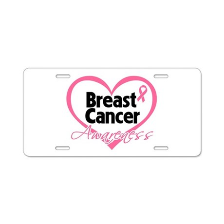 Breast Cancer Awareness Heart Aluminum License Pla