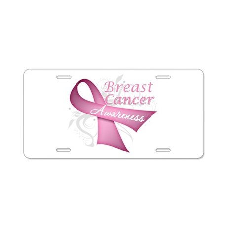 Floral Breast Cancer Aluminum License Plate