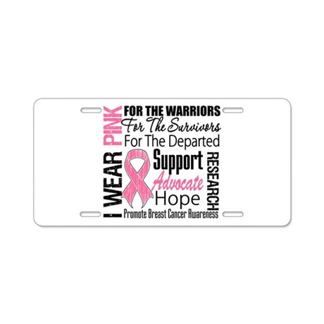 Pink Ribbon Tribute Aluminum License Plate