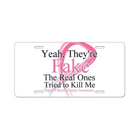 Fake 2 - Breast Cancer Aluminum License Plate
