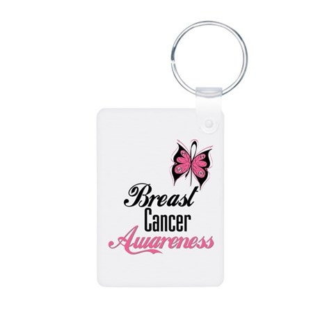 Butterfly Breast Cancer Aluminum Photo Keychain