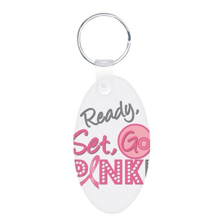 Breast Cancer Go Pink Aluminum Oval Keychain