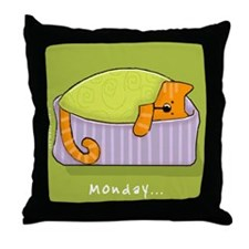 Cats on Monday Throw Pillow