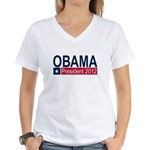 Obama President 2012 Women's V-Neck T-Shirt