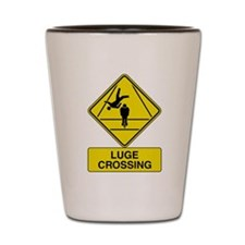 Luge Crossing Sign Shot Glass