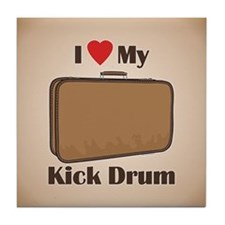 Suitcase Drum Love Tile Coaster