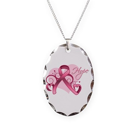 FloralHeartBreastCancer Necklace Oval Charm