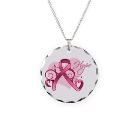 FloralHeartBreastCancer Necklace Circle Charm