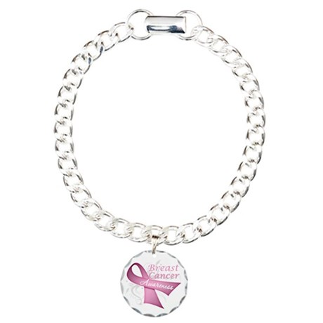 Floral Breast Cancer Charm Bracelet, One Charm