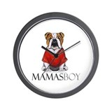 Mamas Boy Bulldog Wall Clock