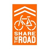 ORANGE Sharrow Share the Road - Decal