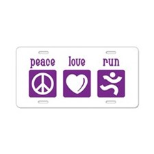 Peace/Love/Run Aluminum License Plate