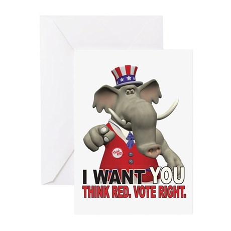 I Want You. Think Red. Greeting Cards (Package of