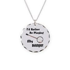 Playing My Banjo Necklace Circle Charm