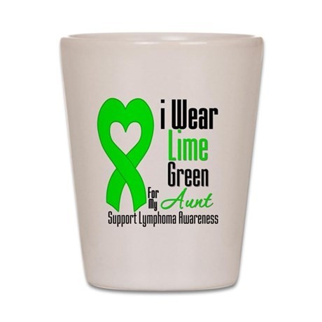 Lymphoma Heart Aunt Shot Glass