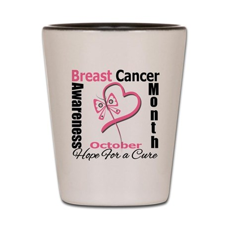 Breast Cancer Month Heart But Shot Glass