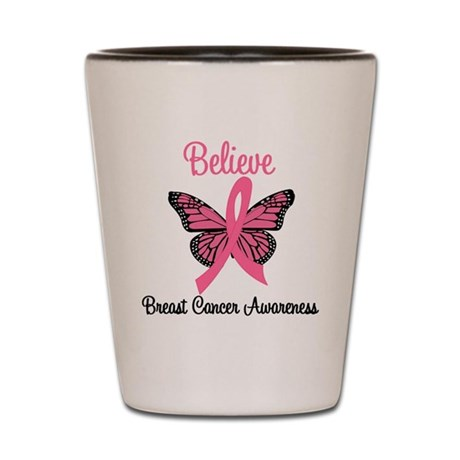 Believe Breast Cancer Shot Glass