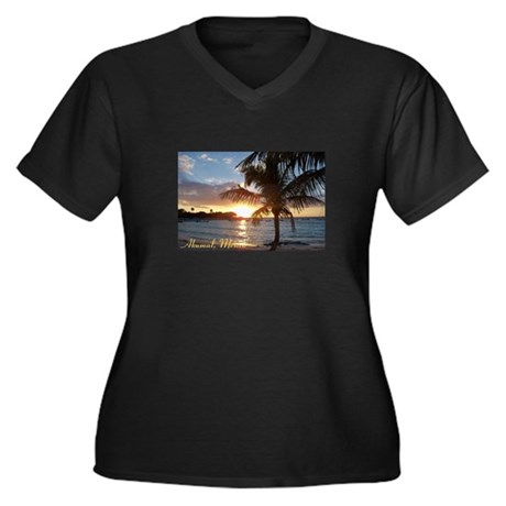 Akumal Sunrise - Palm Tree, Y Women's Plus Size V-