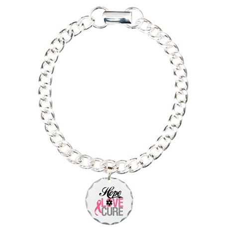 Breast Cancer HOPE CURE Charm Bracelet, One Charm