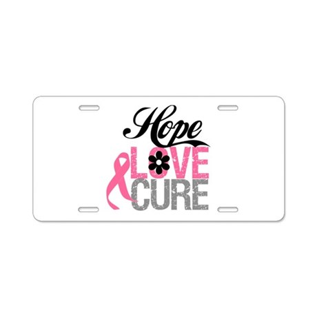 Breast Cancer HOPE CURE Aluminum License Plate