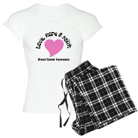 Pink Heart-Breast Cancer Women's Light Pajamas