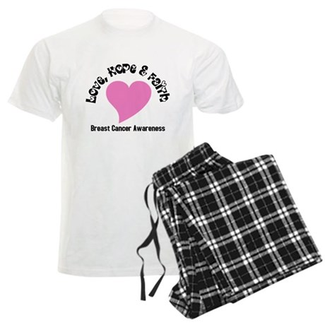 Pink Heart-Breast Cancer Men's Light Pajamas