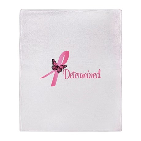 Breast Cancer Determined Throw Blanket