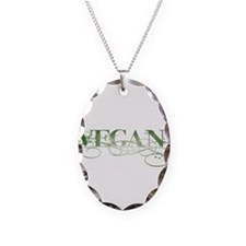 Vegan Green Organic Necklace Oval Charm
