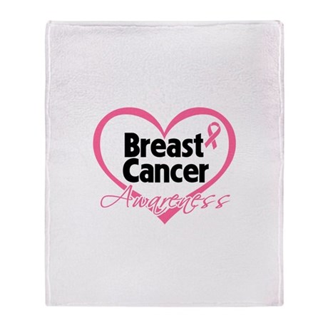 Breast Cancer Awareness Heart Throw Blanket