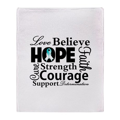 Cervical Cancer Hope Collage Throw Blanket