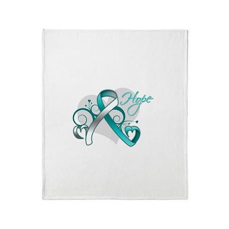 Hope Ribbon Cervical Cancer Throw Blanket