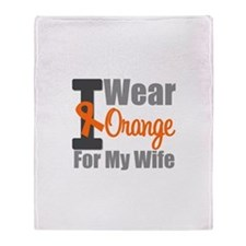 I Wear Orange (Wife) Throw Blanket
