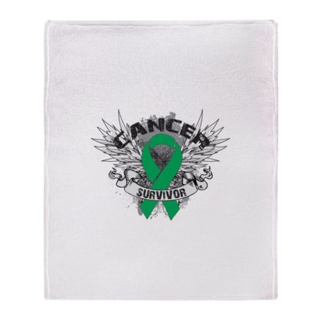 Survivor Wings Liver Cancer Throw Blanket
