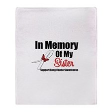 InMemorySister Lung Cancer Throw Blanket