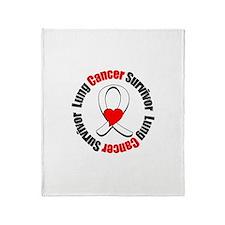 Lung Cancer Survivor Heart Throw Blanket