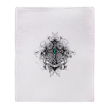 Faith Cross Ovarian Cancer Throw Blanket