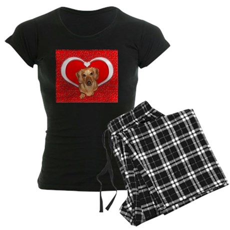 Sweetheart Dachshund Dog Women's Dark Pajamas