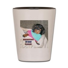 Breakfast In Bed Doxie Dog Shot Glass
