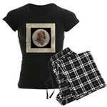 Longhaired Dachshund head stu Women's Dark Pajamas