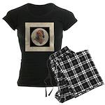 Longhaired Dachshund head stu Women's Dark Pajamas
