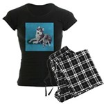 Siberian Husky and Puppy Women's Dark Pajamas