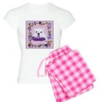 Bulldog puppy with flowers Women's Light Pajamas
