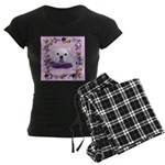 Bulldog puppy with flowers Women's Dark Pajamas