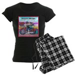 Bulldog and Frenchie Biker Women's Dark Pajamas