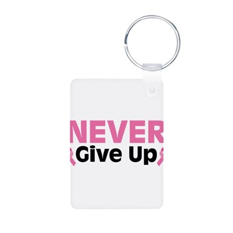 Never Give Up Aluminum Photo Keychain
